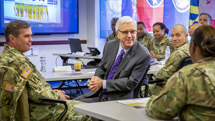James E. McPherson, center, nominee to become the Army's next undersecretary, discusses the Integrated Personnel and Pay System-Army, or IPPS-A, with Soldiers during a briefing in Arlington, Va., Dec. 20, 2019. McPherson, who serves as the Army's general counsel, testified before the Senate Armed Services Committee during his confirmation hearing Jan. 16, 2020, in Washington, D.C. (Photo Credit: Ben Applebaum). Link to Undersecretary nominee quality of life article