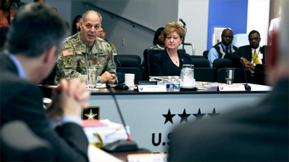Gen. Gus Perna, commander of Army Materiel Command, discusses the status of Army Housing with representatives of the privatized companies that hold contracts to manage Army housing units at 44 U.S. installations. The company representatives joined with Army leaders to develop a vision for housing reinvestment during a Housing Summit at AMC Headquarters, Jan. 14-16, 2020. (Photo Credit: Eben Boothby).  Link to housing summit article.